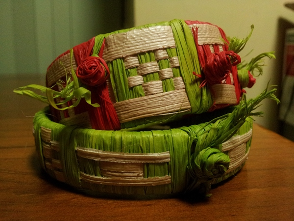 Samoan weaving bangles pandanus and lime:red raffia